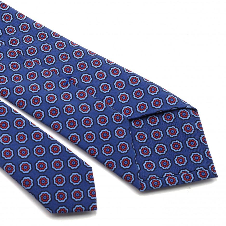 Blue Floral Printed Silk Tie