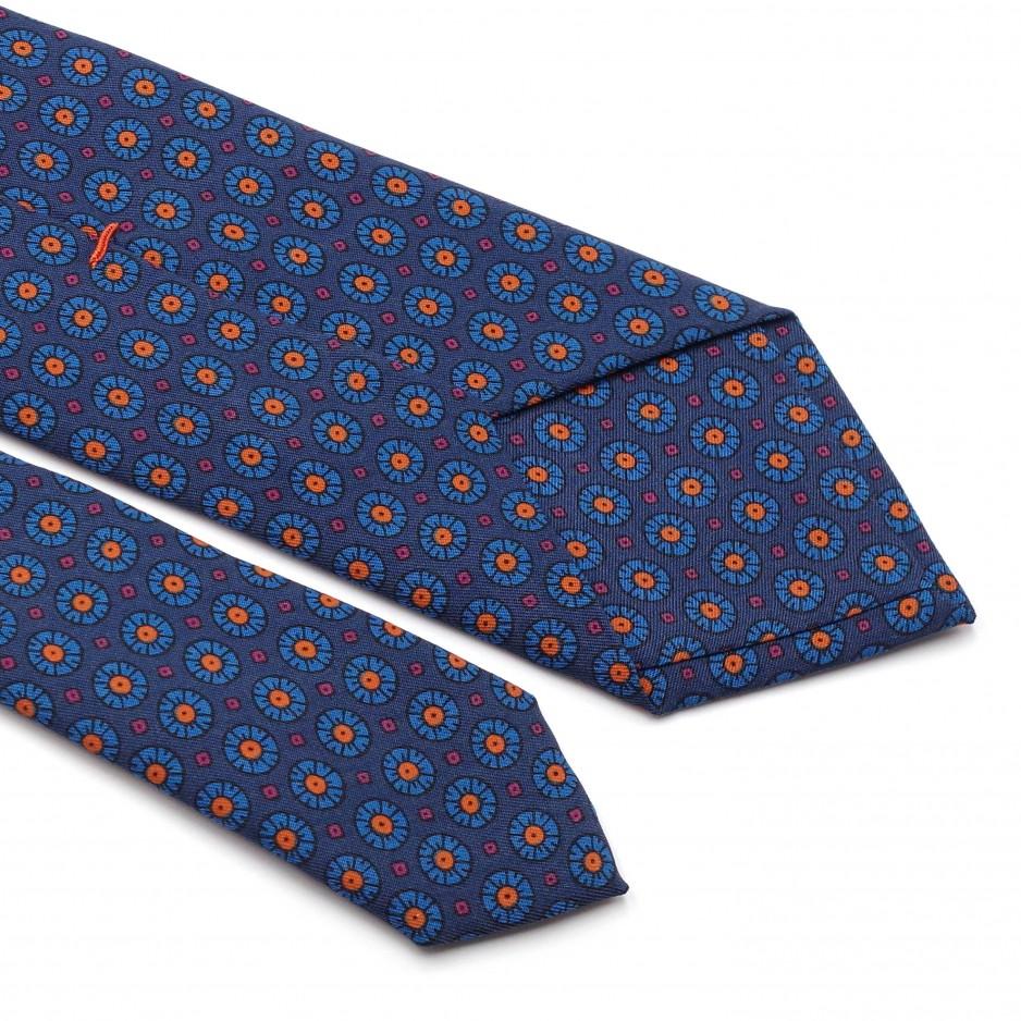 Blue Tie Silk Floral Print