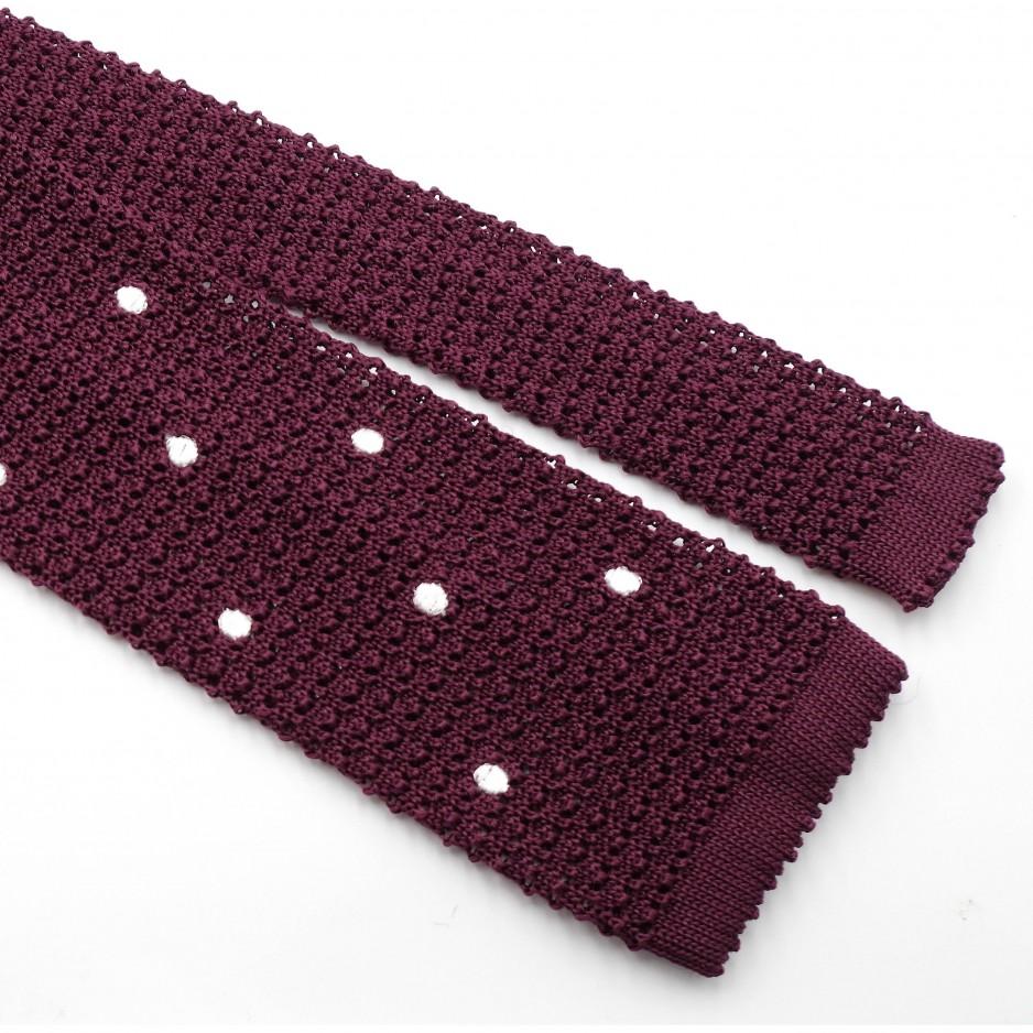 Burgundy Knitted Silk Tie