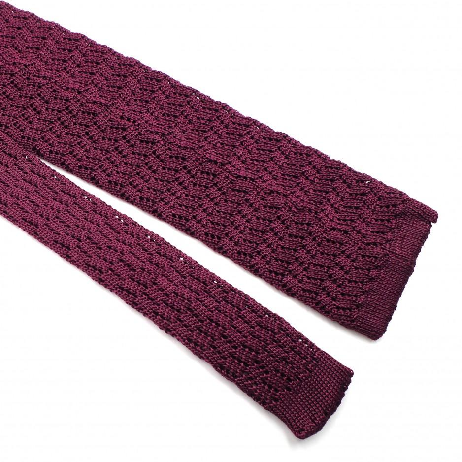 Burgundy Silk Grenadine Tie - Zig Zag Knitted