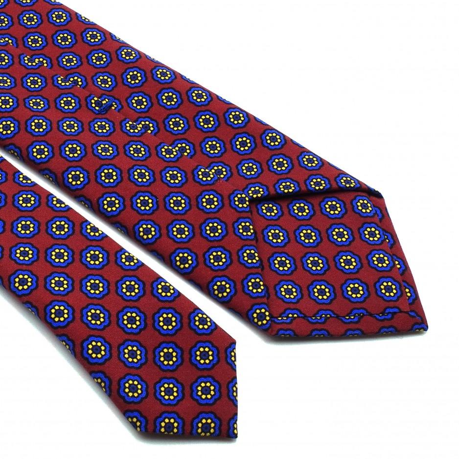 Burgundy Tie Silk Floral Print