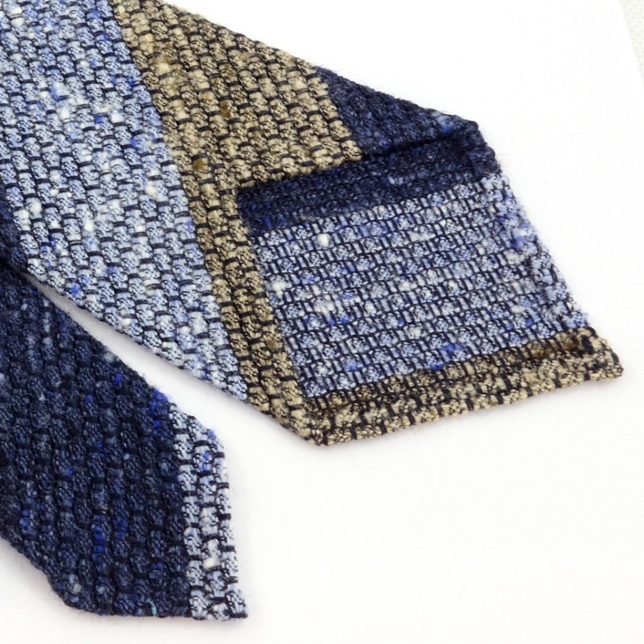 Blue and Beige Shantung Silk Club Tie