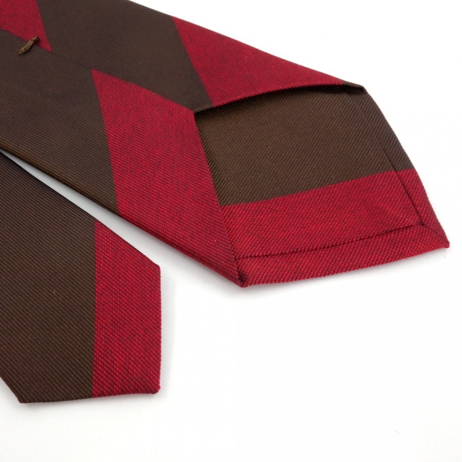 Brown and Red Silk Club Tie