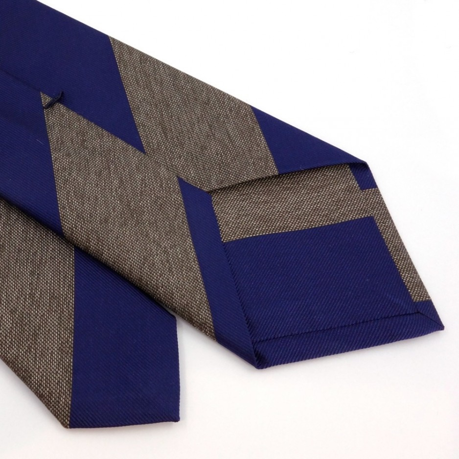 Brown and Blue Silk Club Tie