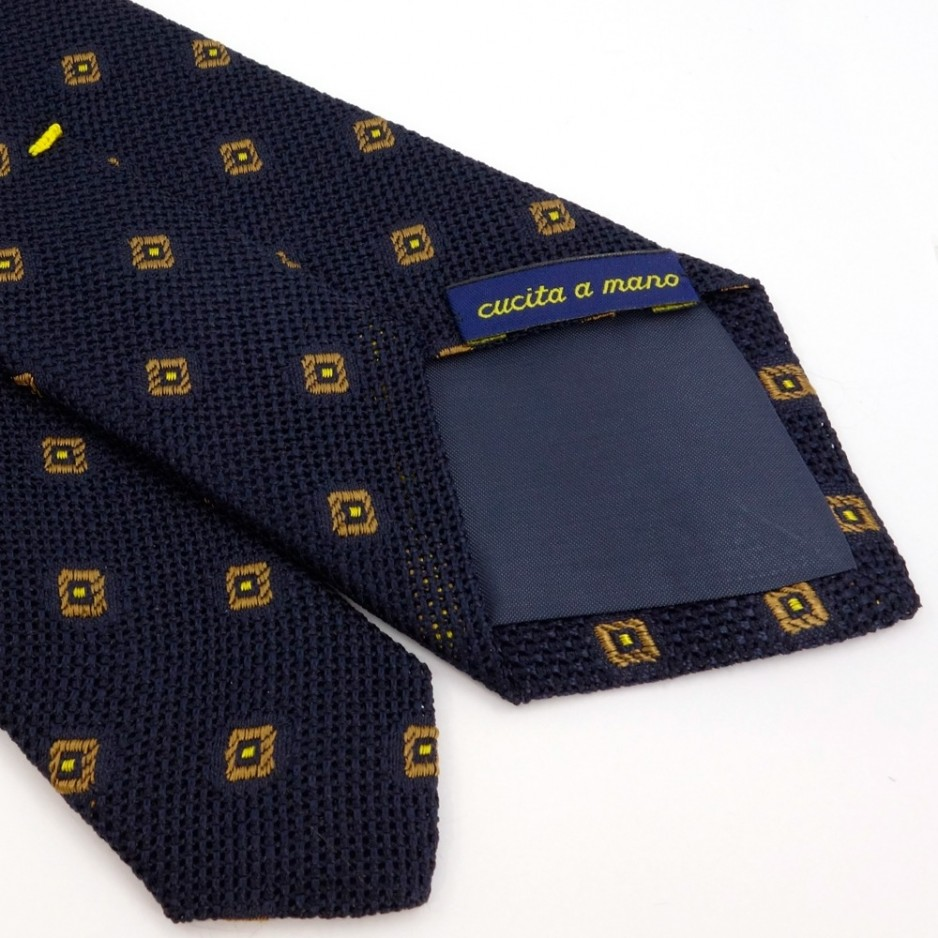 Blue Silk Tie with Yellow Jacquard Pattern