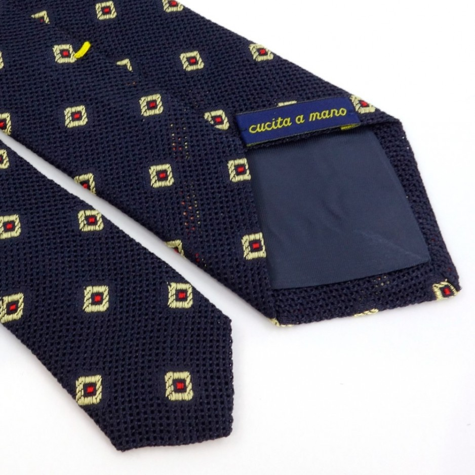 Blue Silk Tie with Red and Golden Jacquard Pattern