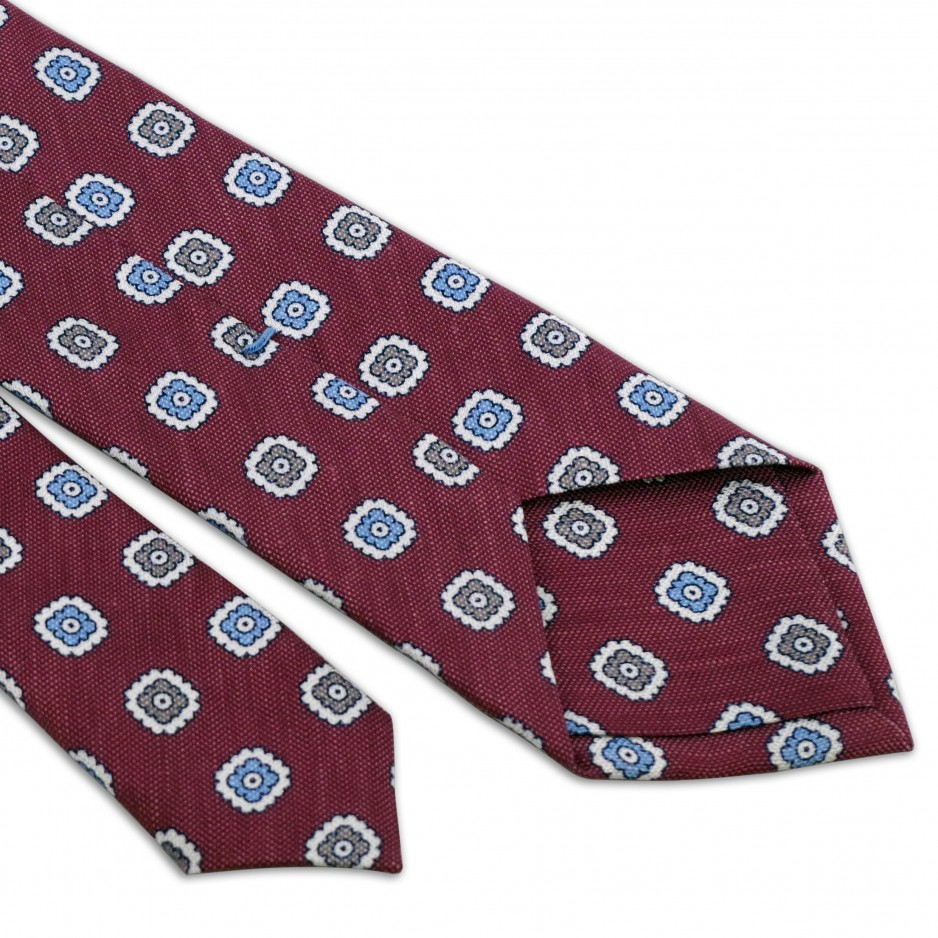 Raspberry Tie With Patterns Flowers Grey Blue