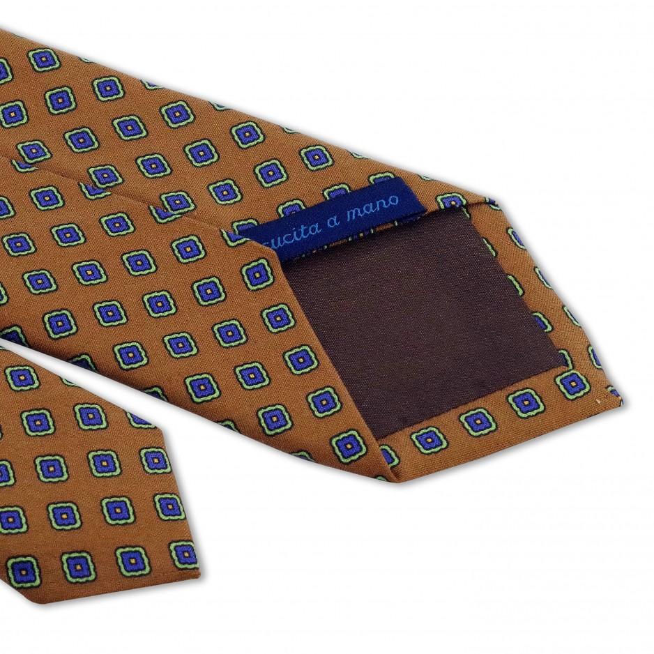 Orange Tie with Flower Patterns Blue