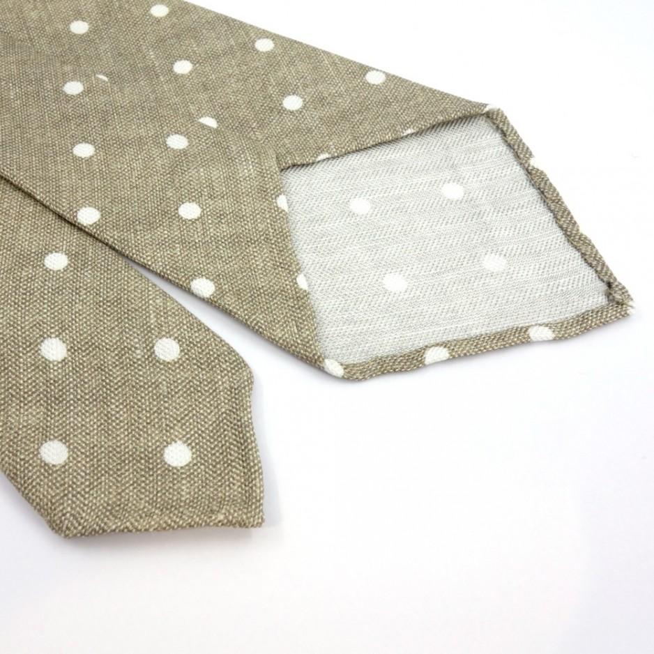 Unlined Beige Tie with dot