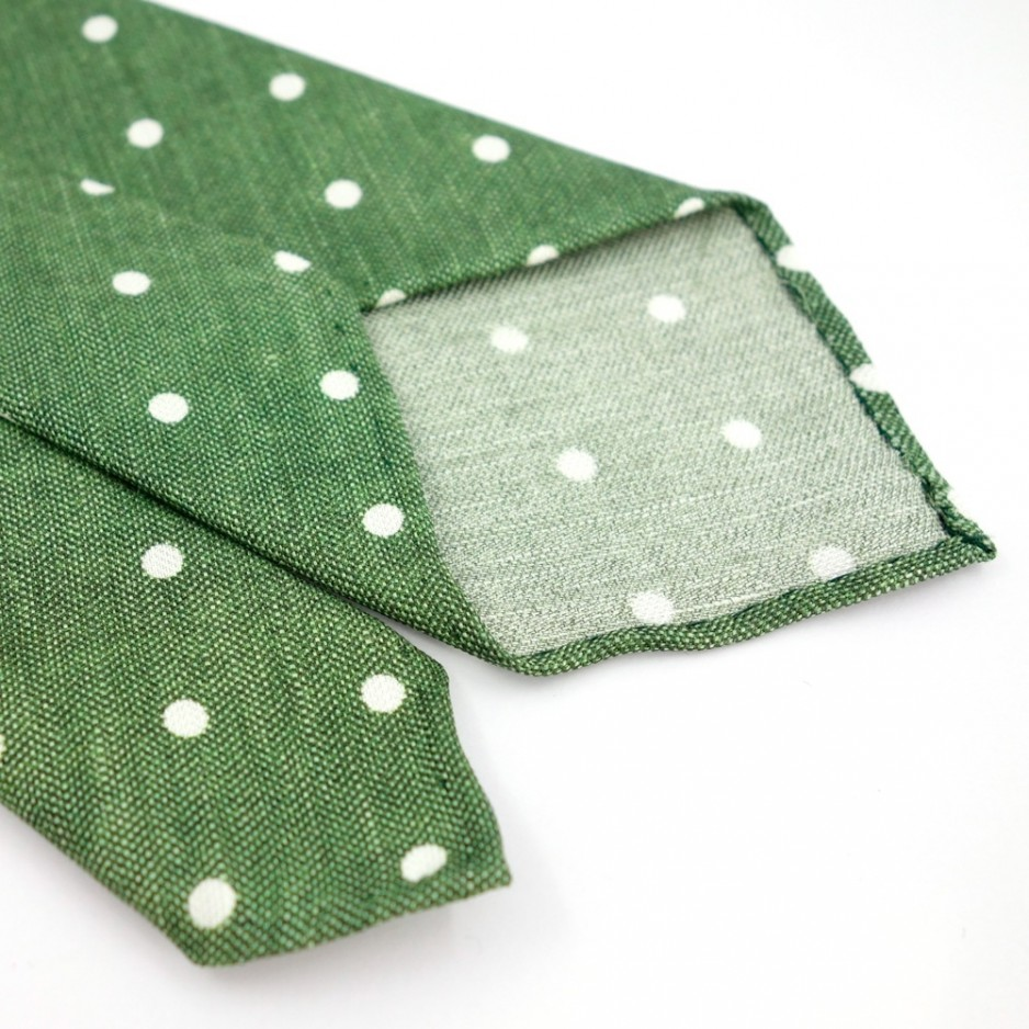 Unlined Green Tie with dot