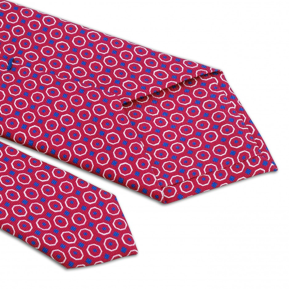 Pink Tie With Patterns White And Blue
