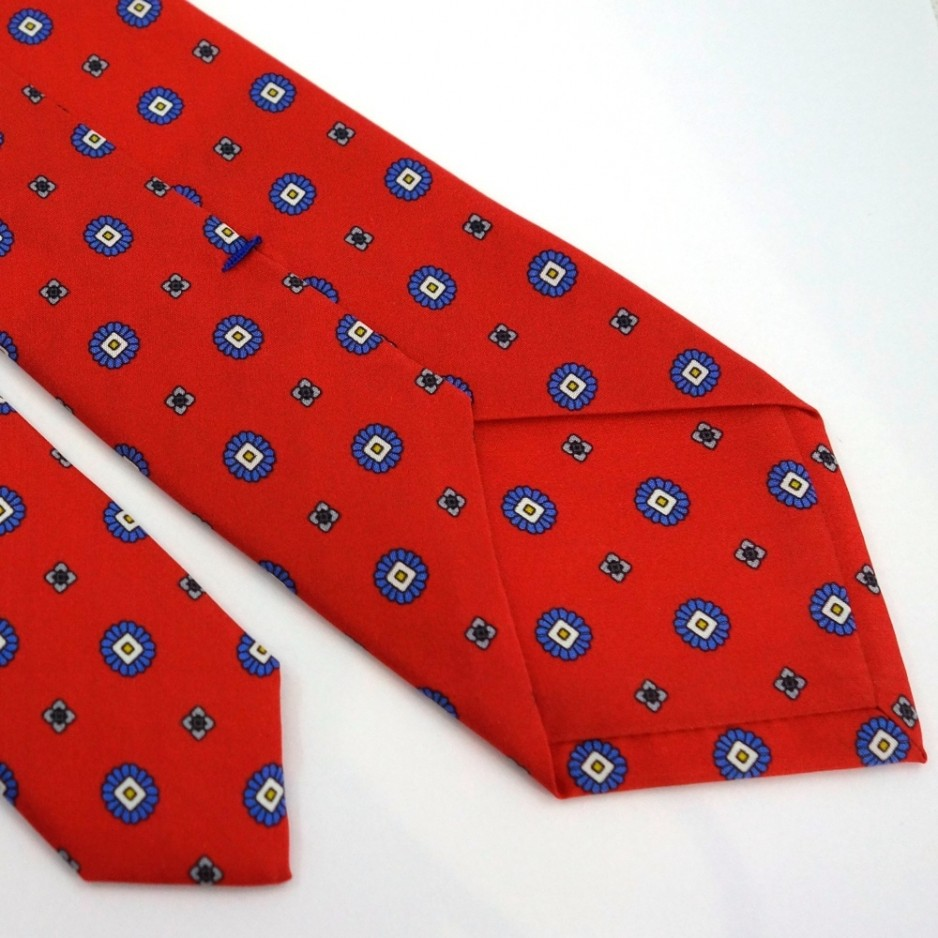 Red Silk Tie with Small Pattern Print