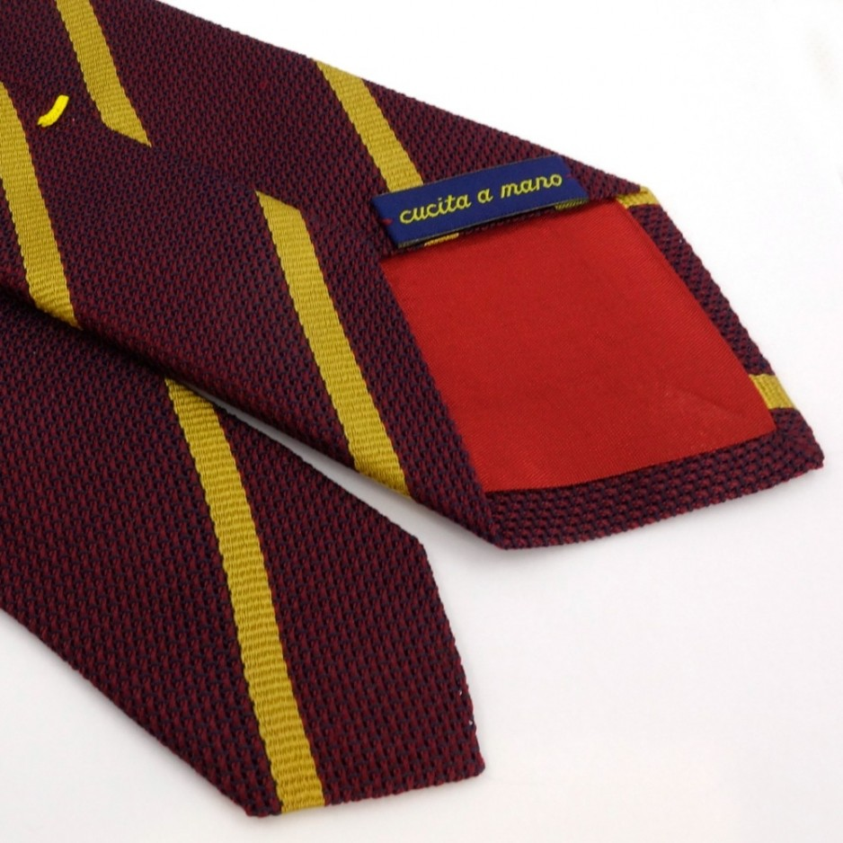 Bordeaux Tie with Golden Stripes