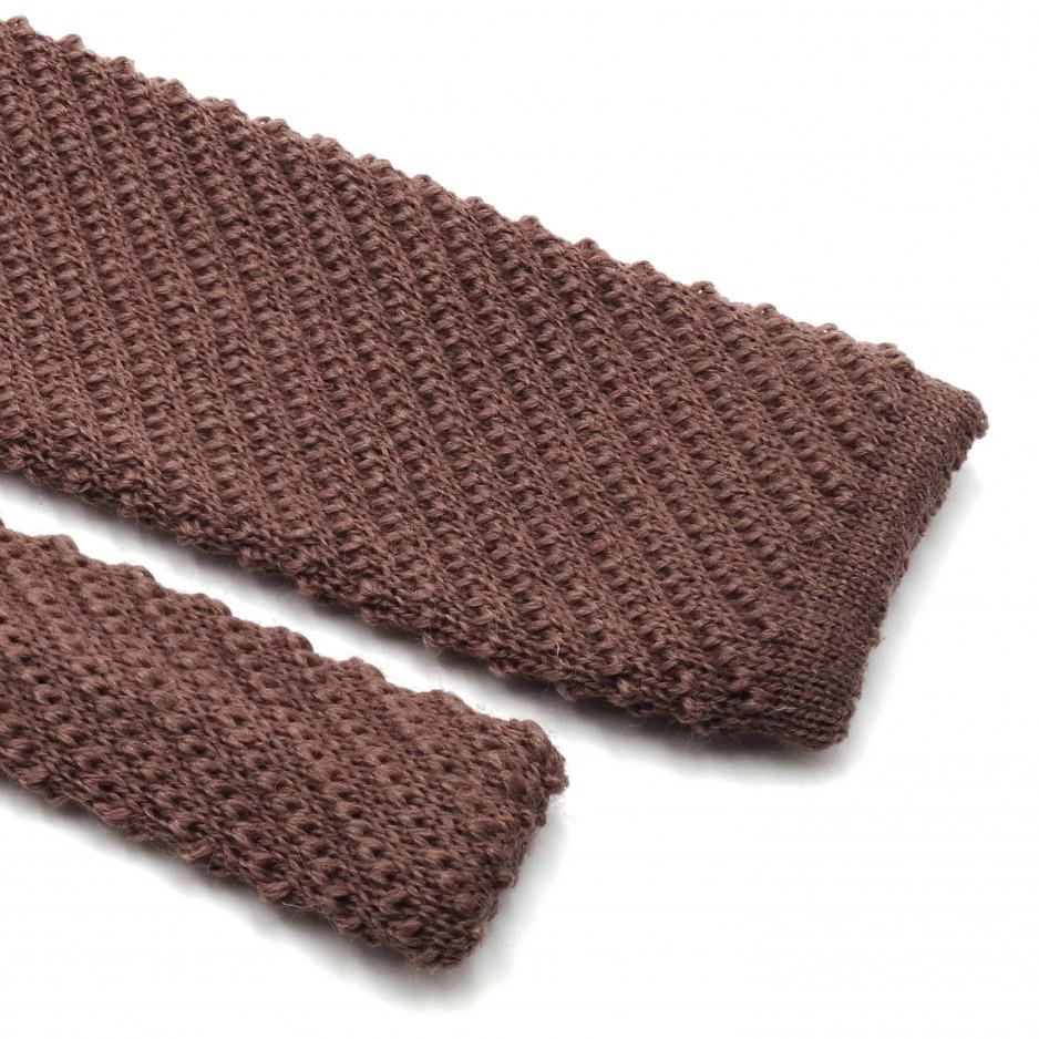 Cream Brown Knit Wool Tie