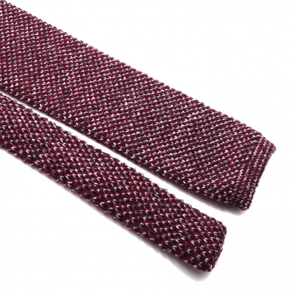 Mix of Burgundy Knitted Wool Tie