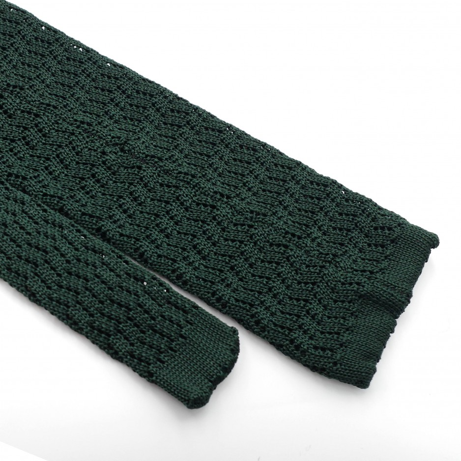 Green Silk Grenadine Tie - Zig Zag Knitted