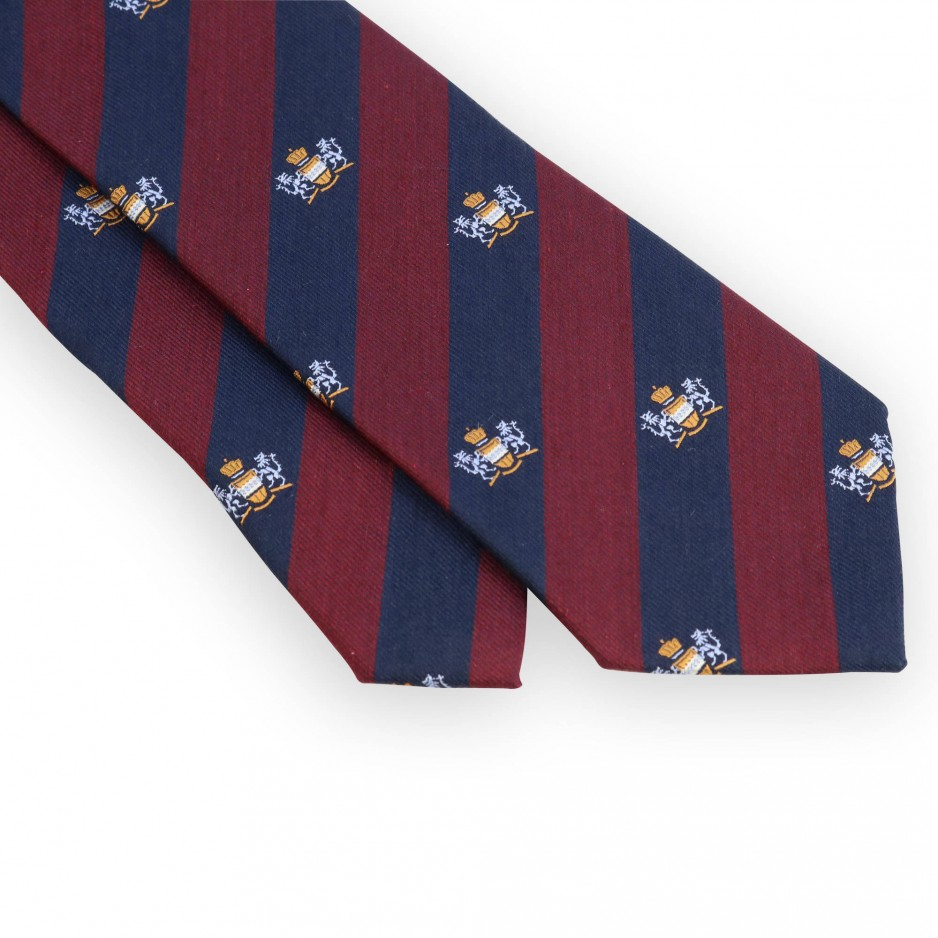 Bordeaux and blue club tie with bleu coat of arms