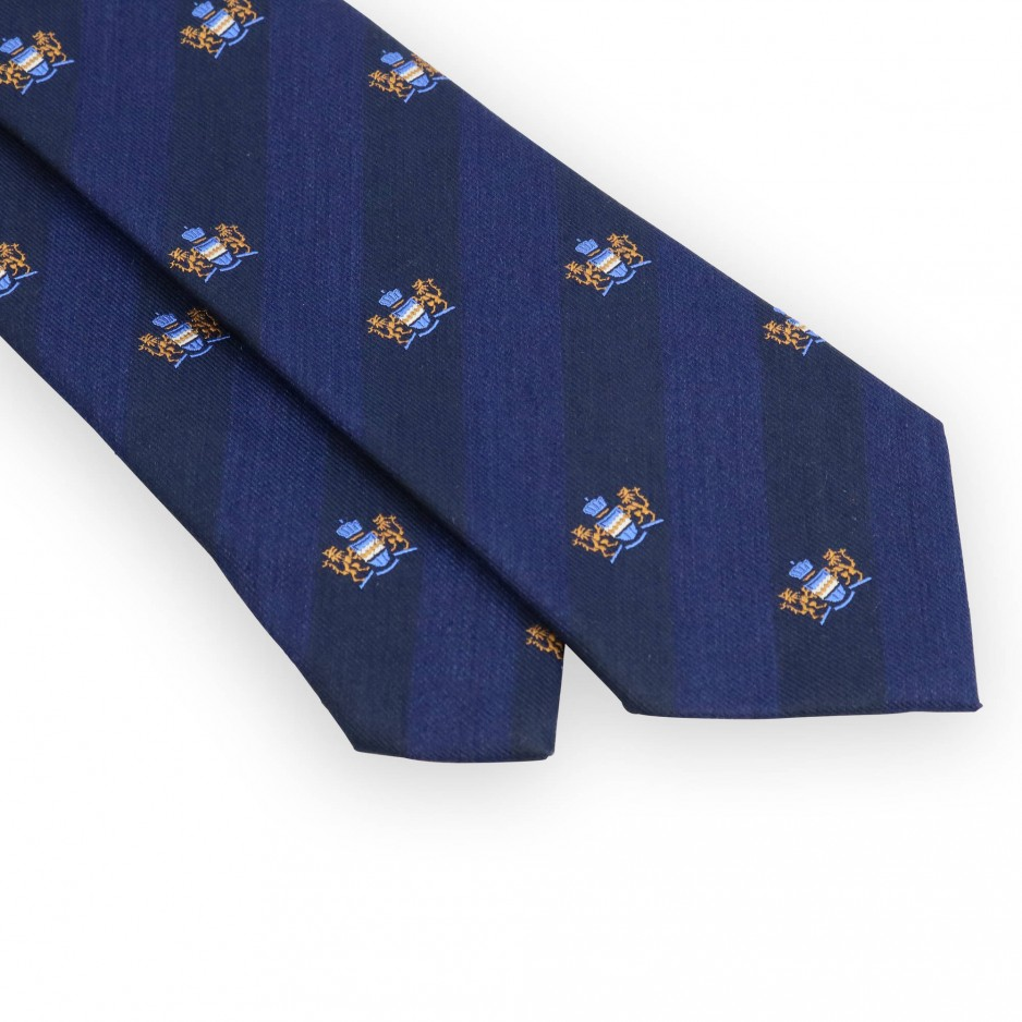 Bordeaux and azure club tie with golden coat of arms