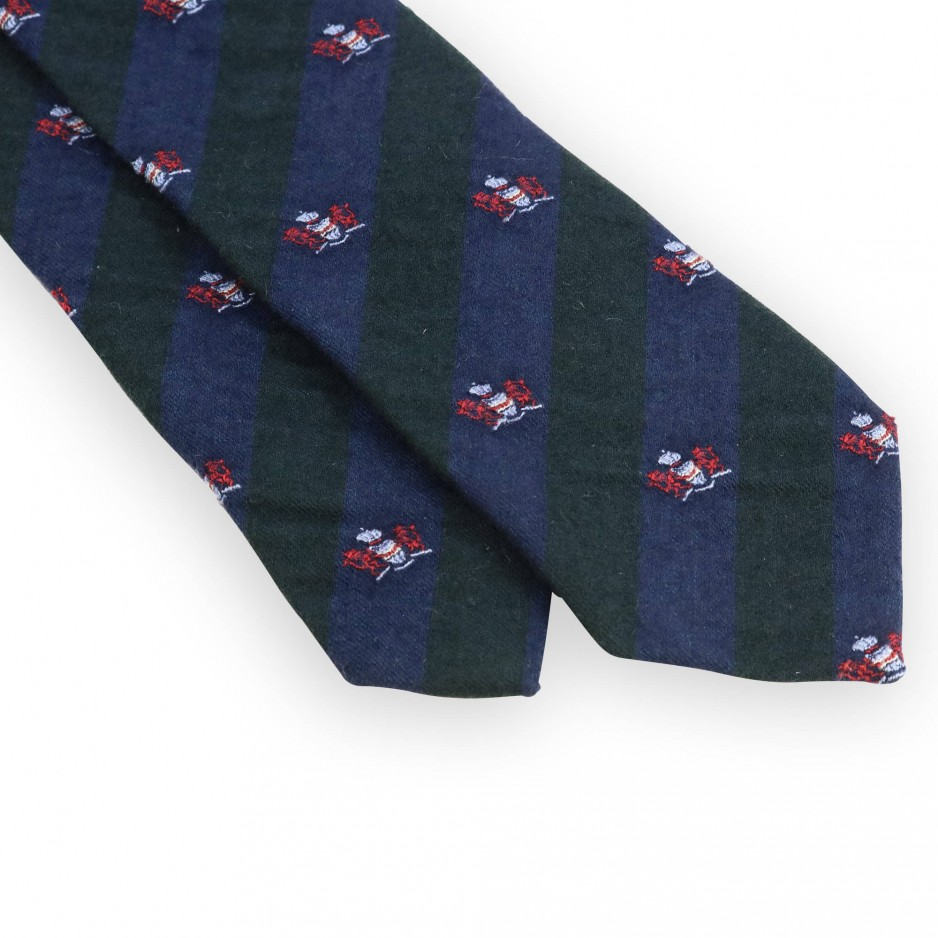 Green and navy club tie with red coat of arms