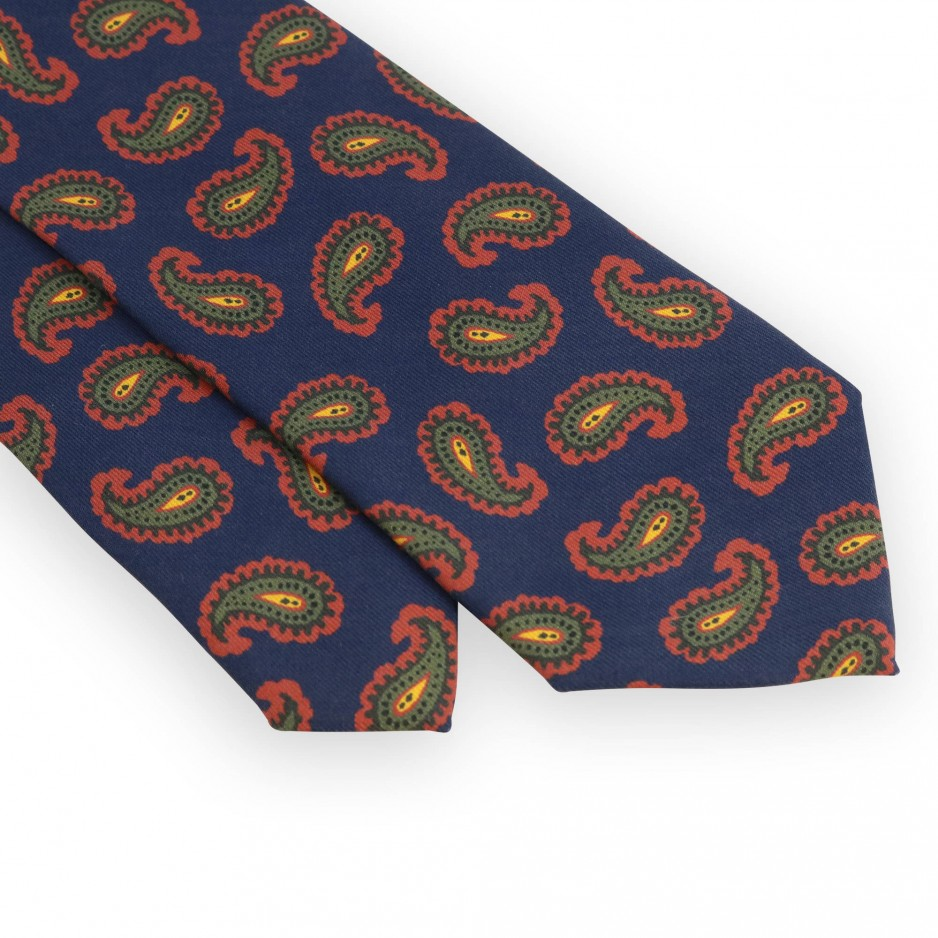 Navy blue tie with red and green paisley pattern