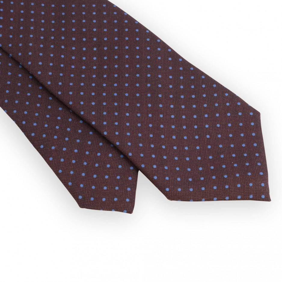 Brown tie with azure dots