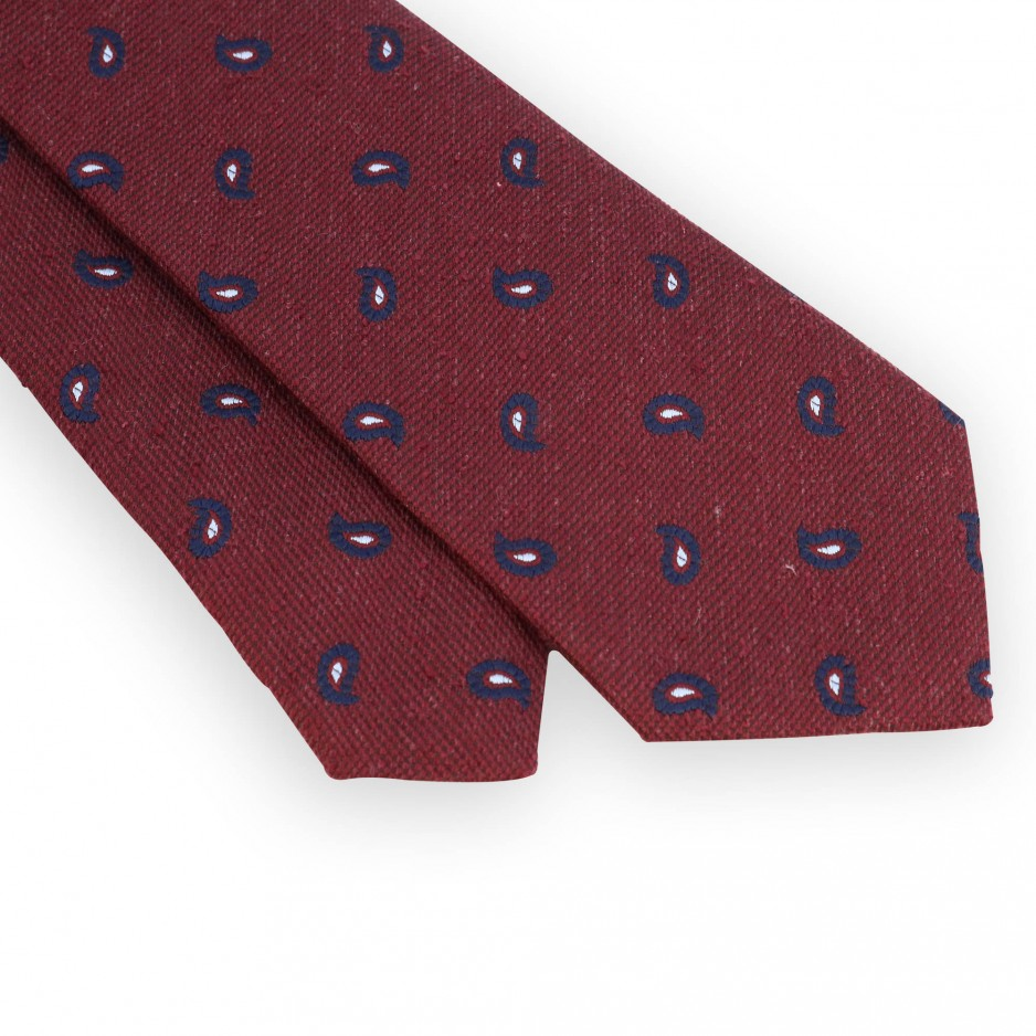 Red silk tie with navy paisley pattern