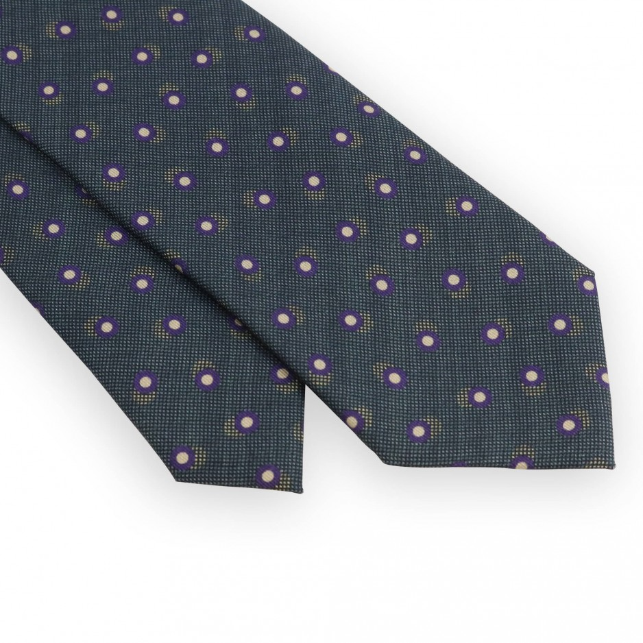 Pine green tie with purple and beige dots