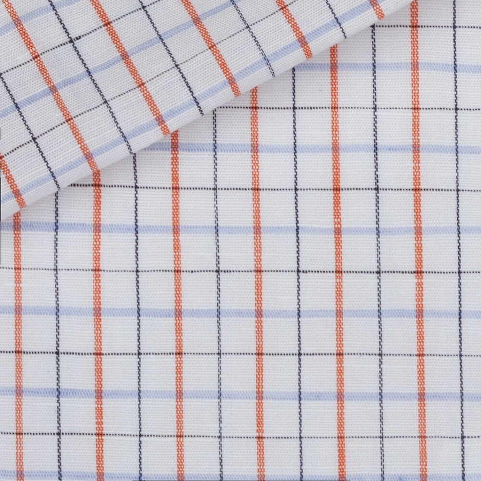 Linen Check Pattern Blue Red