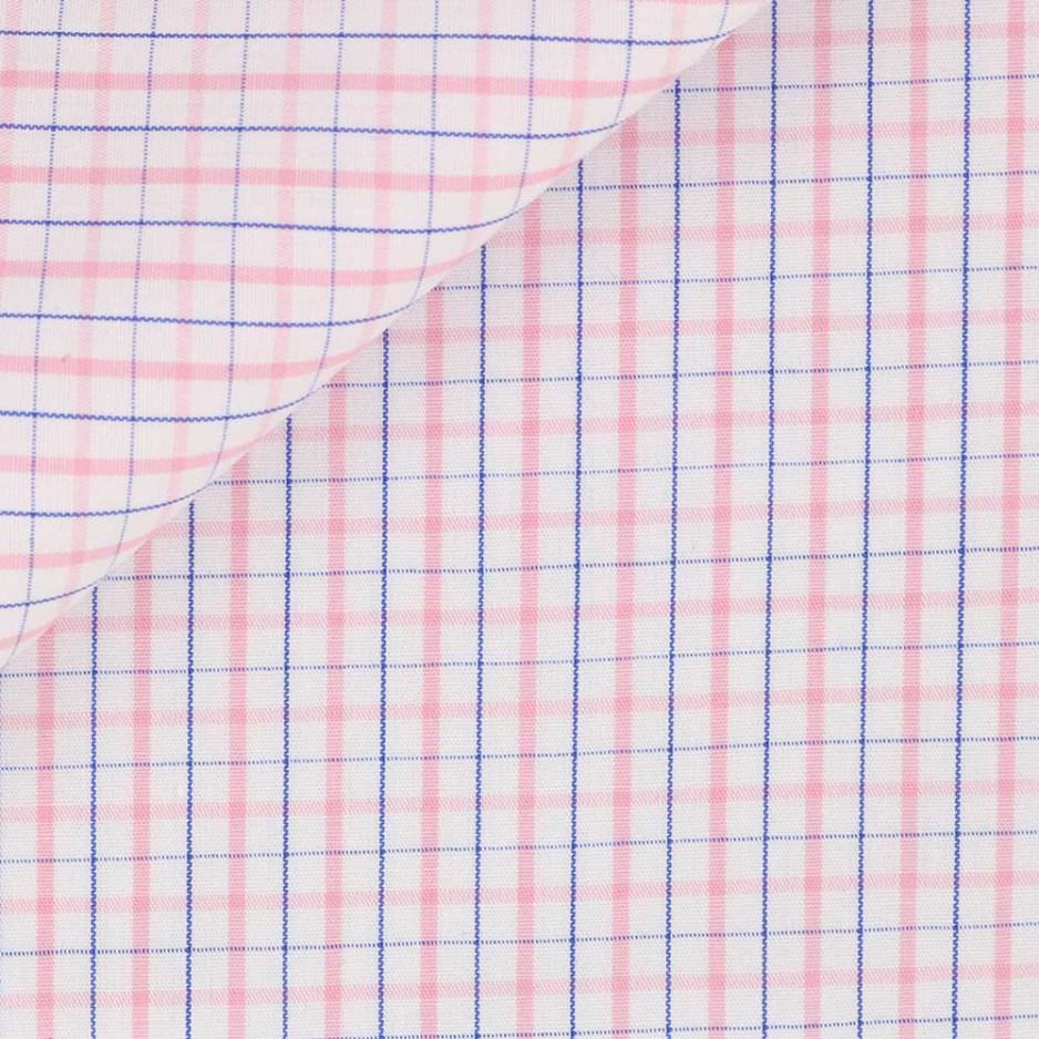Poplin Check Pattern Blue Pink