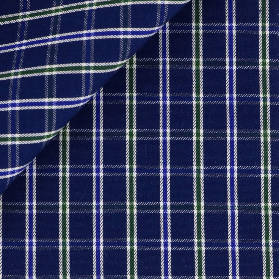 Twill Check Pattern Blue Green
