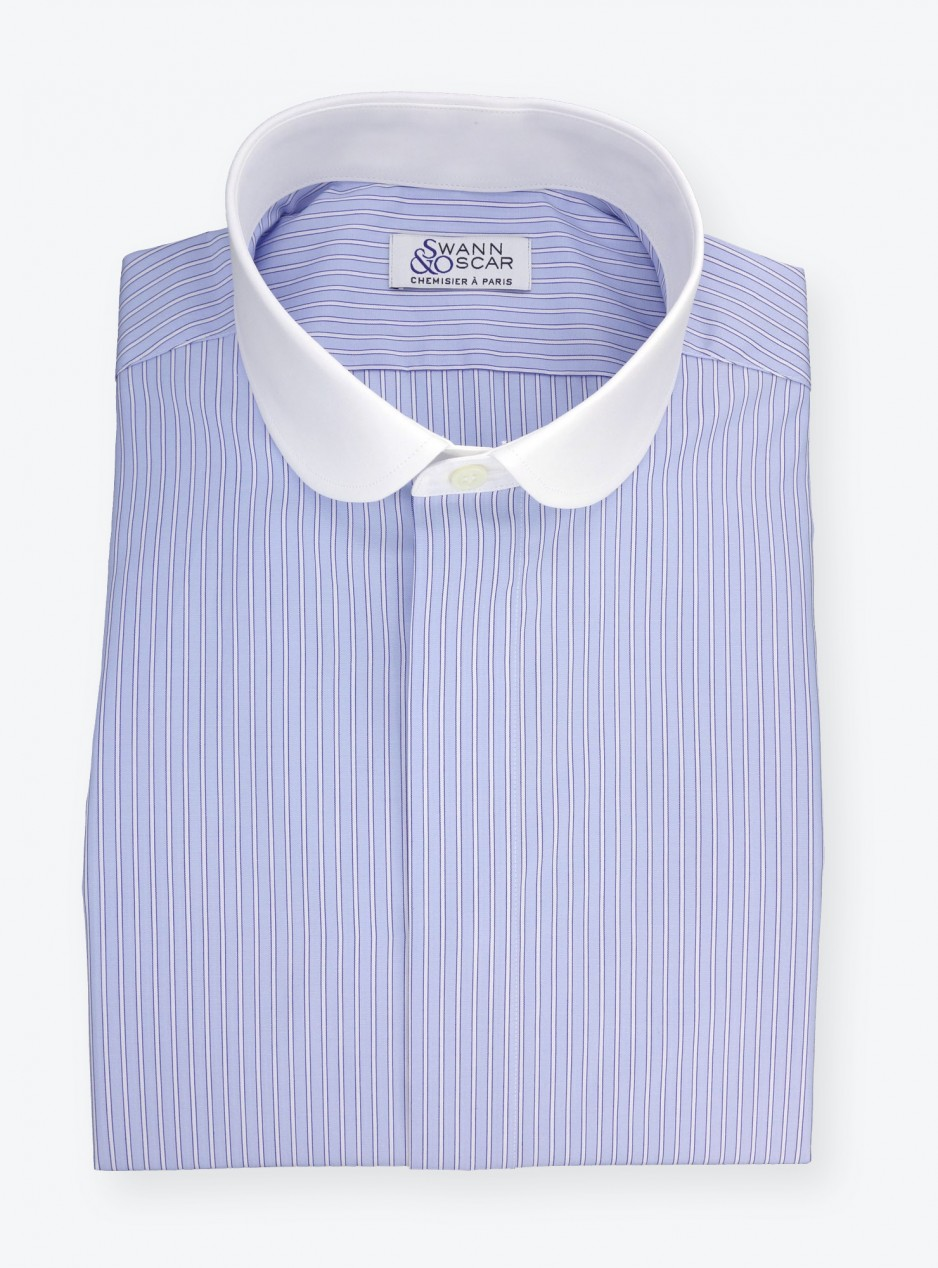 Shirt Poplin Stripes Blue White
