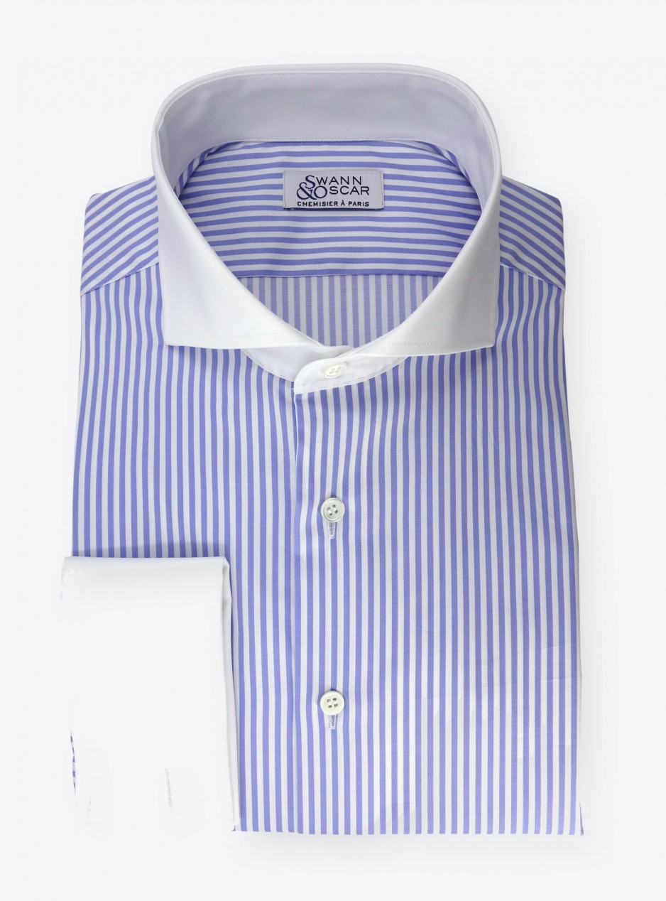 Shirt Twill Stripes Blue White