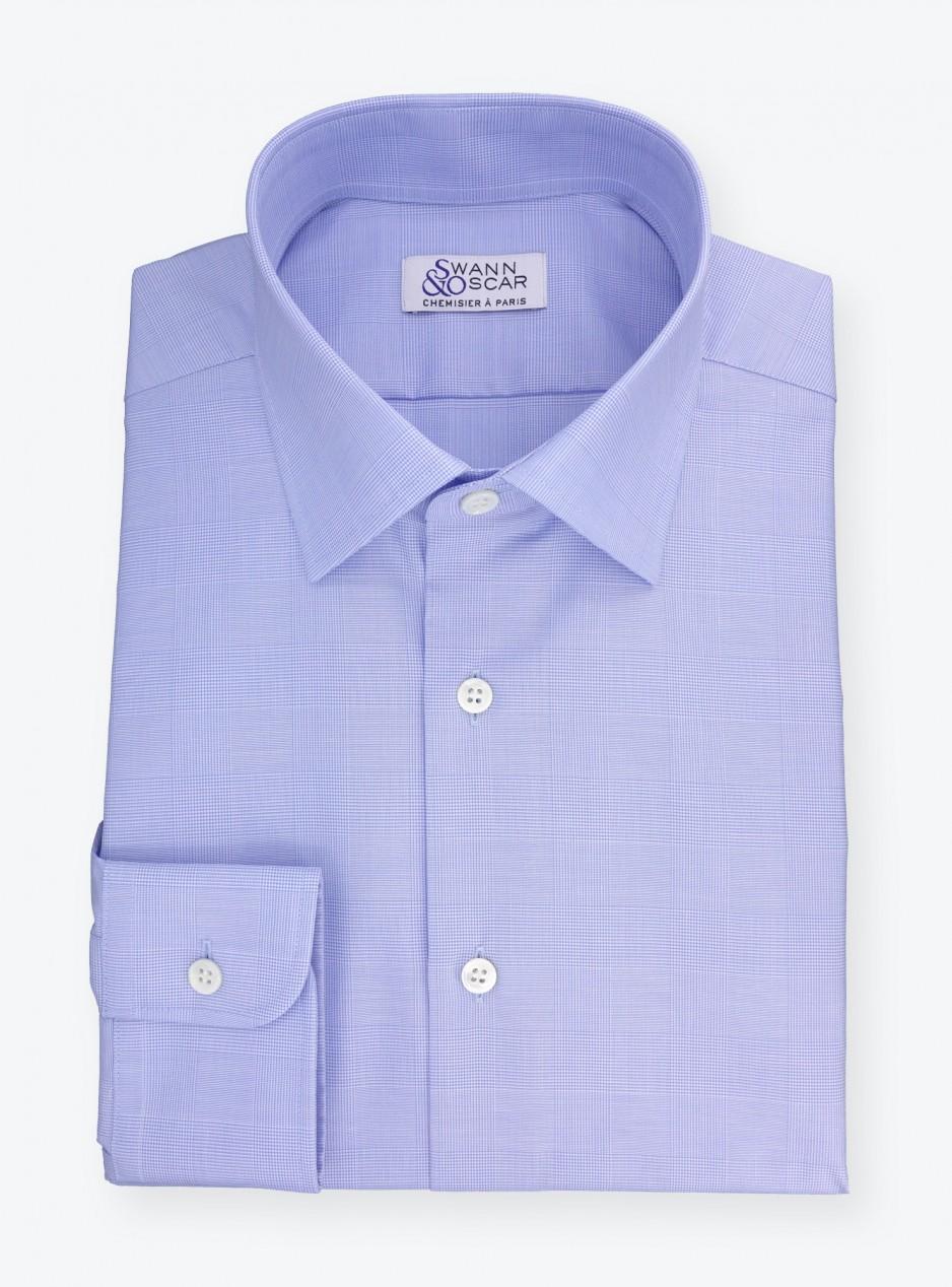 Shirt Poplin Check Pattern Blue