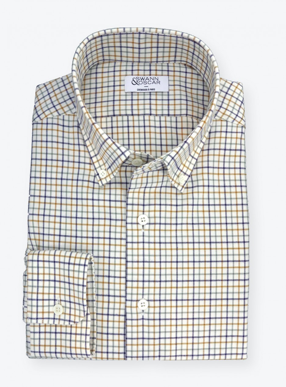 Shirt Twill Check Pattern Blue Orange