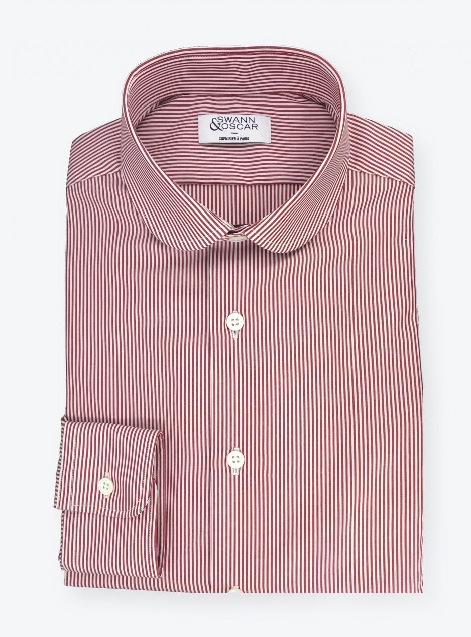 Shirt Poplin Stripes Red