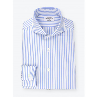 Shirt Blue Striped Pin Point
