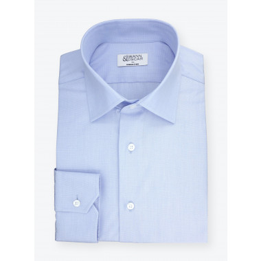 Shirt End on End Plain Blue