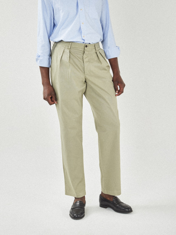 Chino with 2 pleats olive twill
