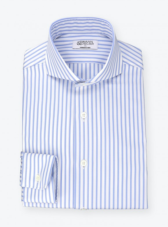Shirt Blue Striped Pin Point