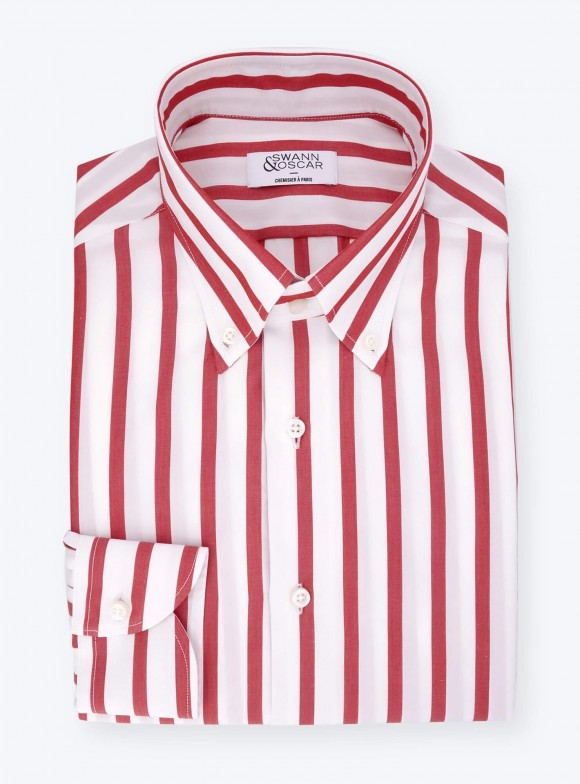 Shirt Poplin Stripes Red