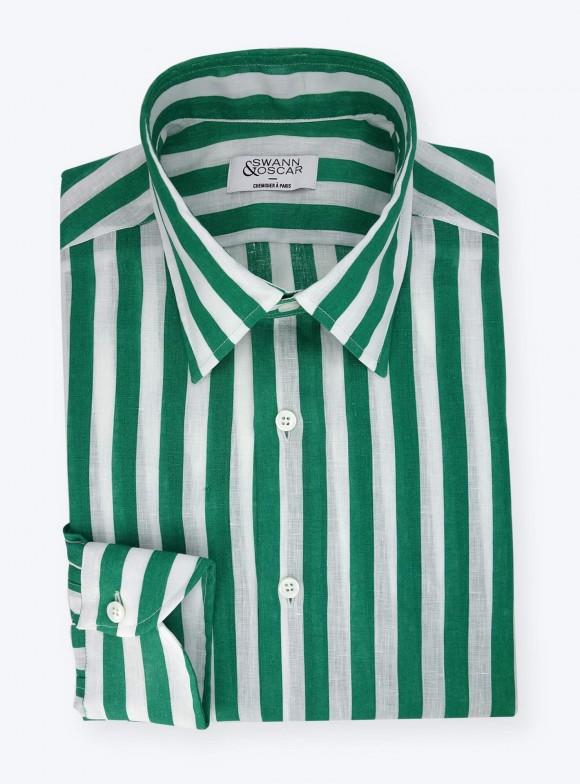 Green Linen Butcher Stripes Shirt