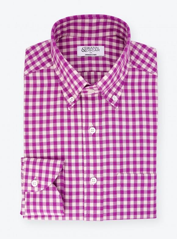 Shirt Twill Check Pattern Mauve