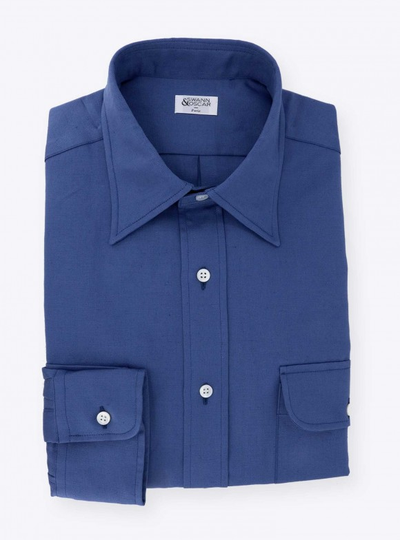 Shirt Linen Uni Blue