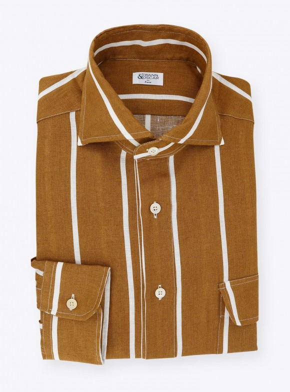 Brown Stripes Linen Shirt