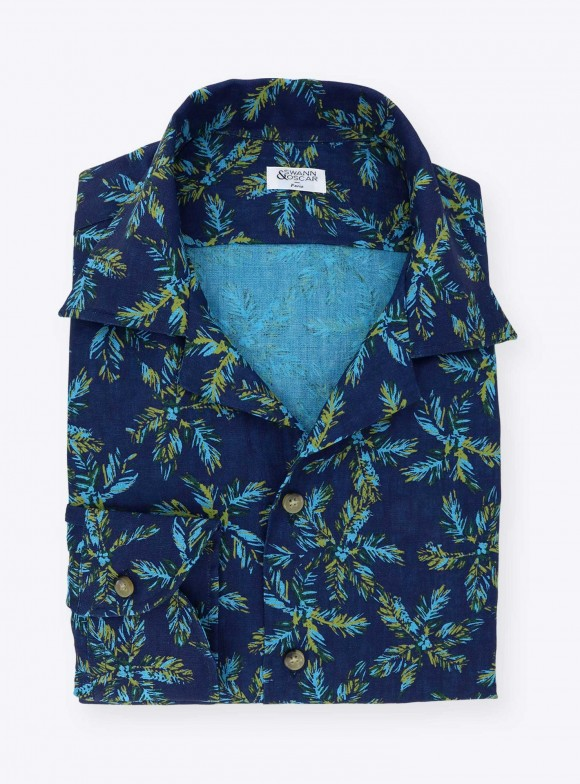 Blue Palm tree Linen Shirt