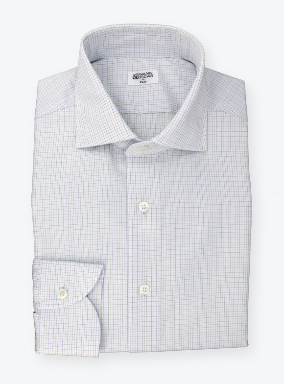 Shirt Poplin Check Pattern Blue Green