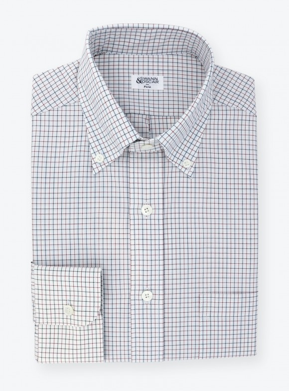 Shirt Oxford Check Pattern Blue