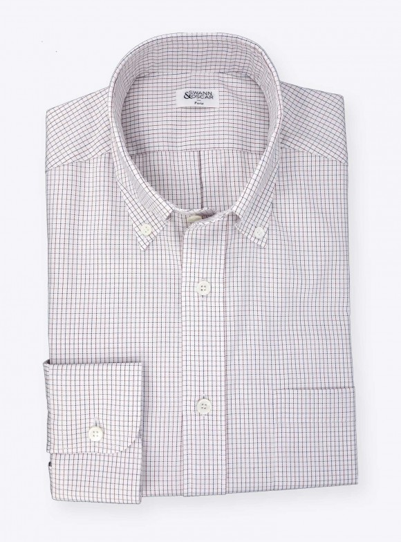 Shirt Oxford Check Pattern Blue Red