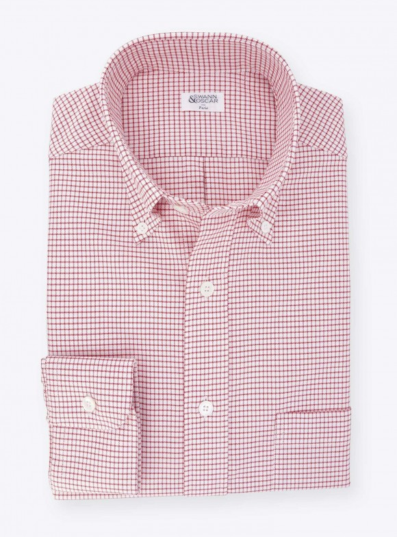 Shirt Oxford Check Pattern Red