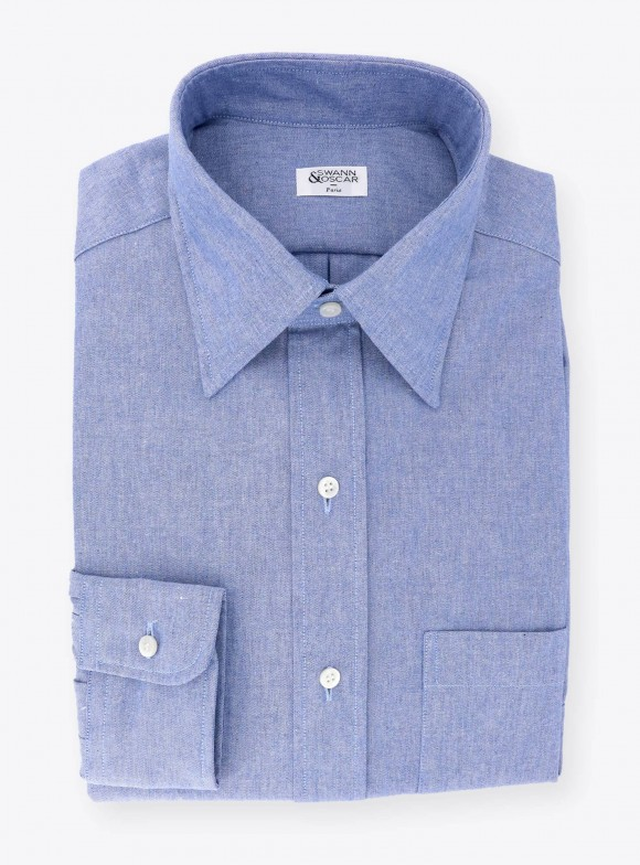 Plain Blue Chambray Shirt
